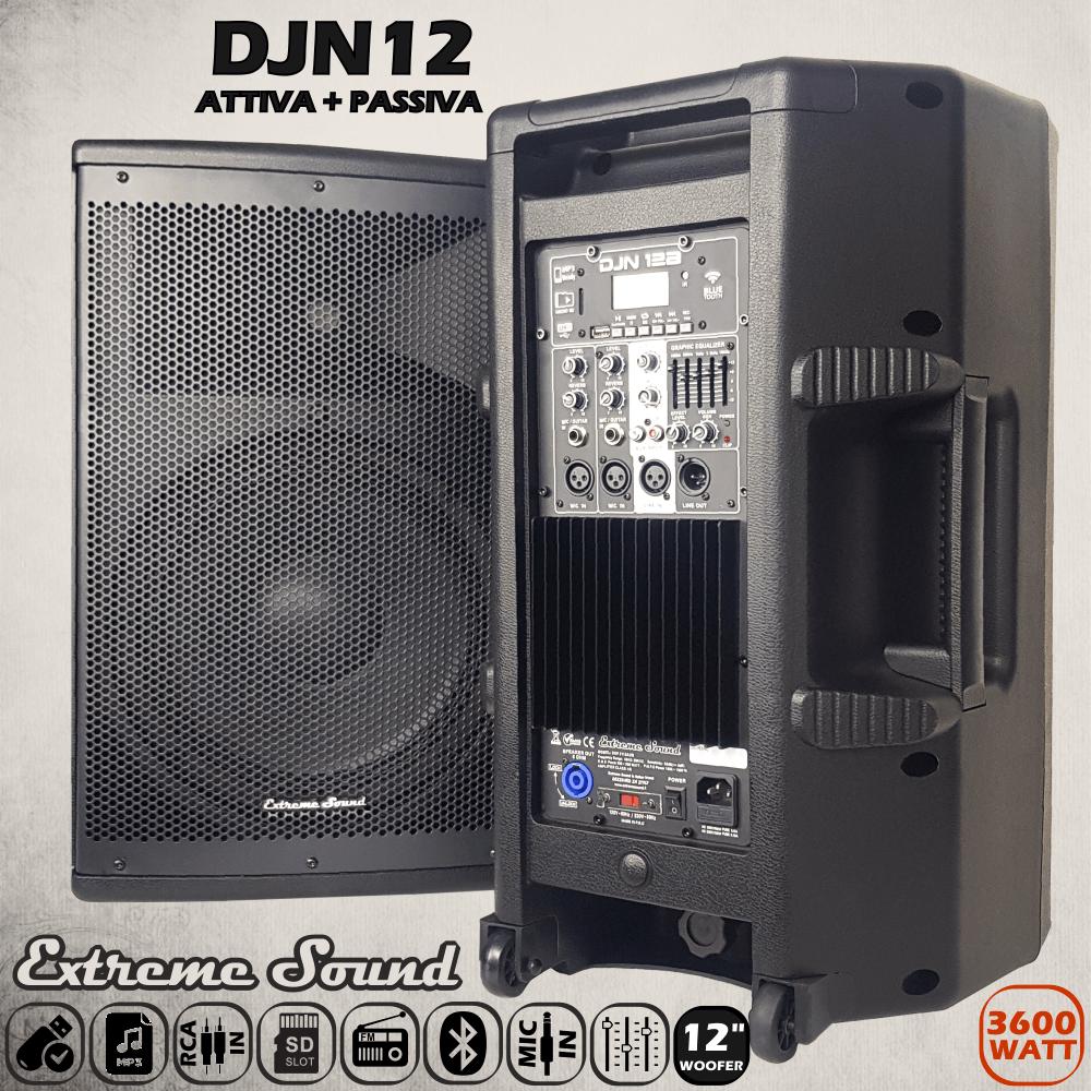 Casse acustiche professionali amplificate 3600 watt con woofer da 12 pollici e struttura in ABS