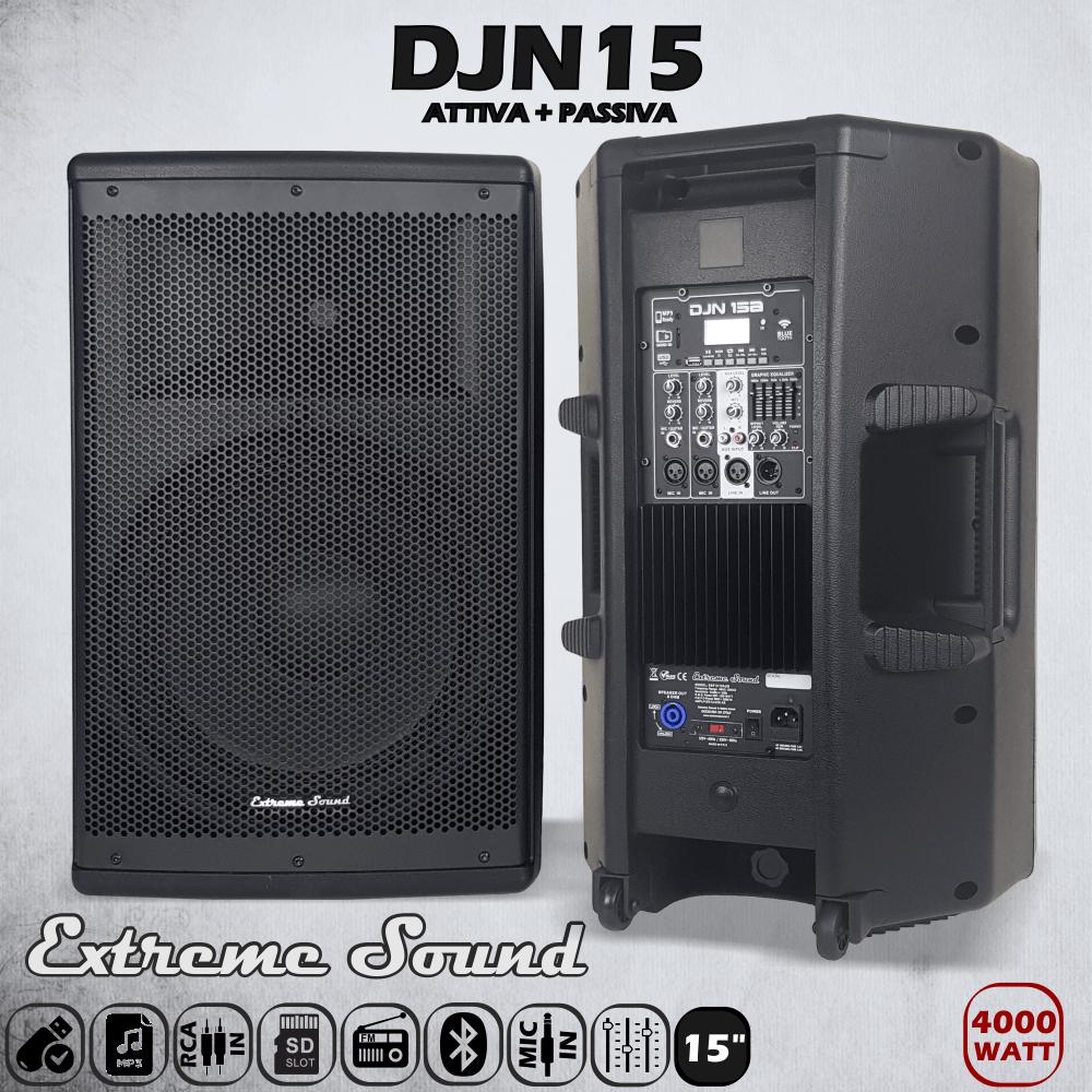 Casse acustiche professionali amplificate 4000 watt con woofer da 15 pollici e struttura in ABS