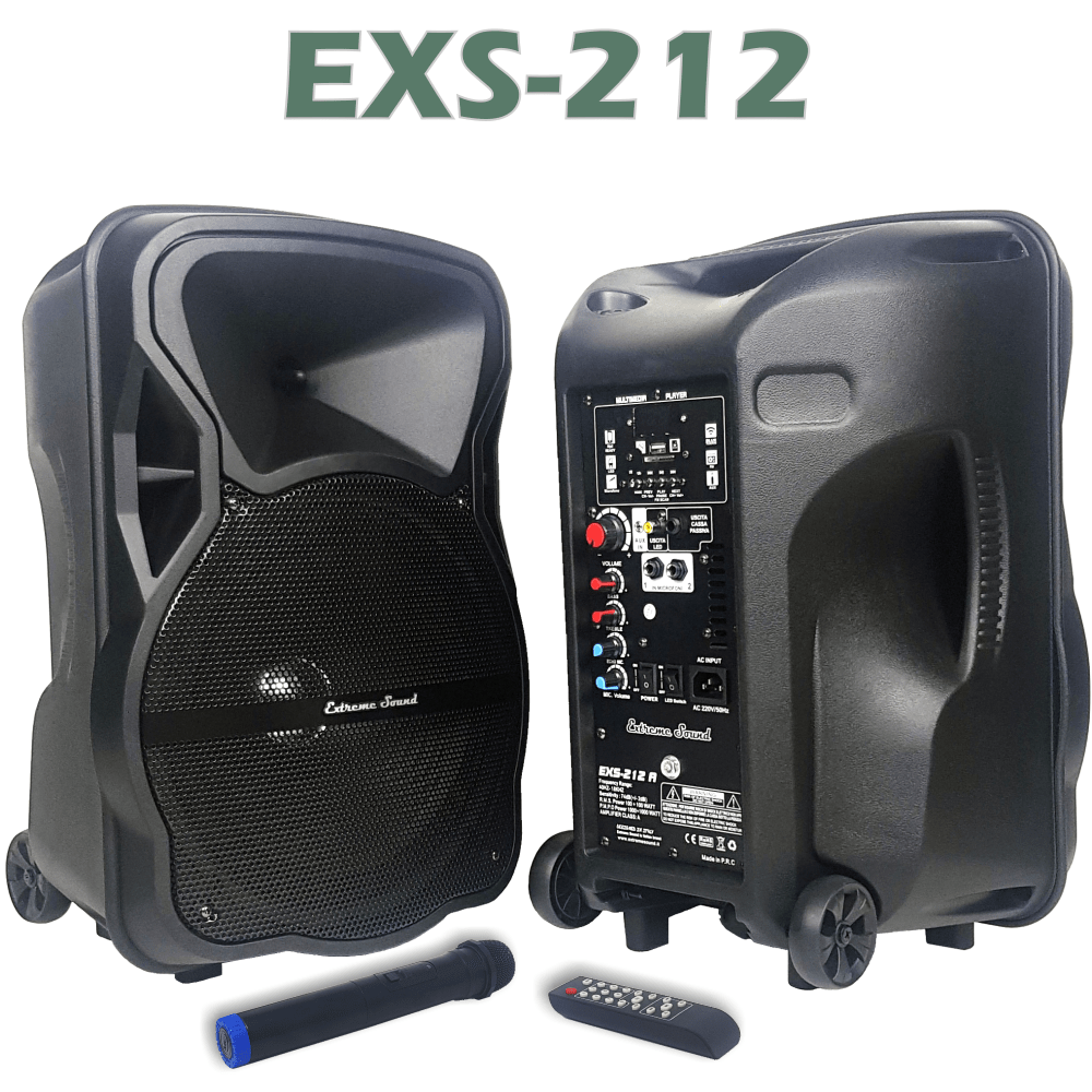 casse acustiche amplificate in ABS con woofer da 12 pollici